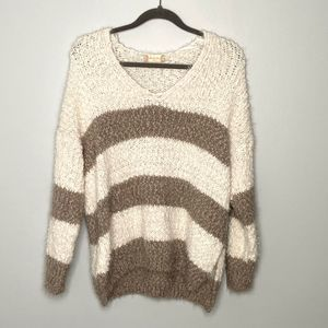 ALTAR'D STATE Fuzzy Wide Stripe V-Neck Sweater